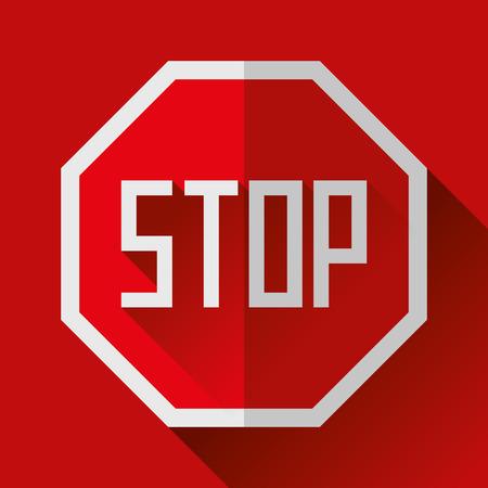 Attention, arrêtez l'icône de signe dans le style plat, dessin vectoriel Banque d'images - 89269592