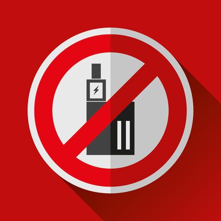 Ne pas fumer signe de la vape. Arrêtez le symbole de la cigarette électronique. Conception de vecteur Banque d'images - 89269596