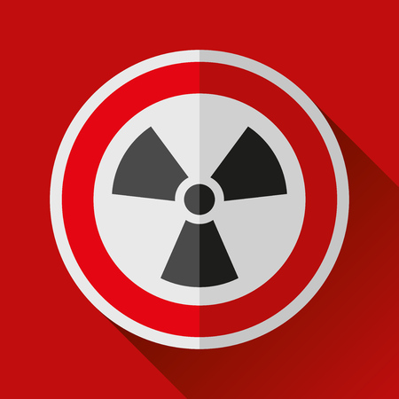 Radiation sign icon in black on white background