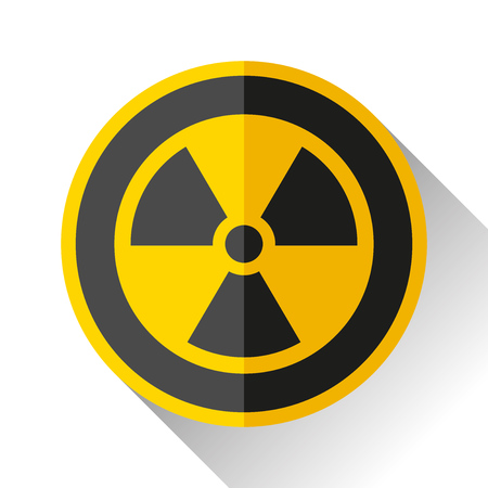 Radiation sign on white background, toxic emblem, vector illustration