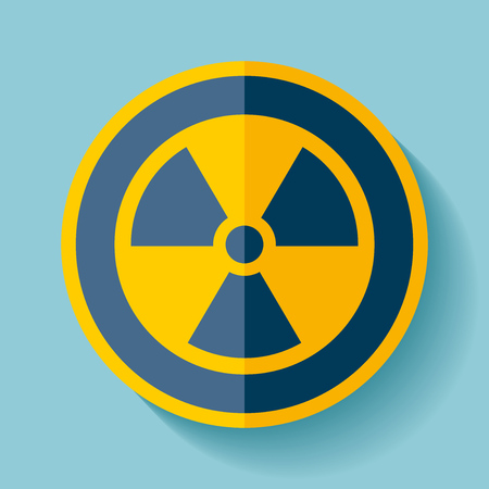 radiactividad: Radiation sign icon in blue color, vector illustration