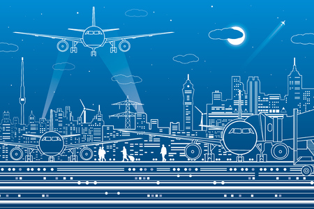 Airport illustration. Aviation transportation infrastructure. The plane is on the runway. Airplane fly, people get on the aircraft. Night city on background, vector design art