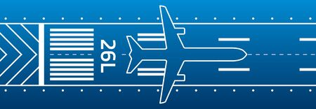 Aircraft on the runway. Aviation transportation illustration. Plane is on the runway.