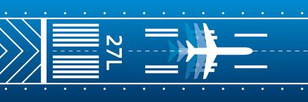 Flugzeuge auf der Landebahn. Luftfahrt-Transport-Illustration. Flugzeug ist auf der Piste. Vektor-Design Standard-Bild - 90182052
