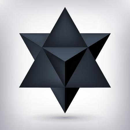 Merkaba, 3d black crystal, dark geometry shape, volume star, mesh shape, abstract vector object Illustration
