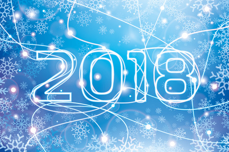Merry Christmas and Happy New Year! 2018. Glowing neon lines on a blue background, holiday card for your business project, more snowflakes, vector design art