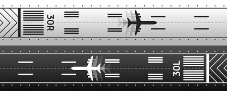 Aviation transportation illustration scheme. Plane is on the runway. Vector design