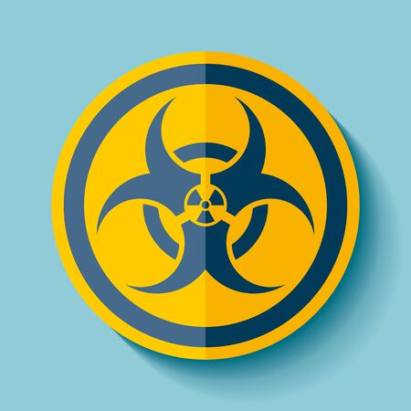 Biohazard sign icon in black on blue background, dense toxic and radiation emblem, vector design illustration for you project.