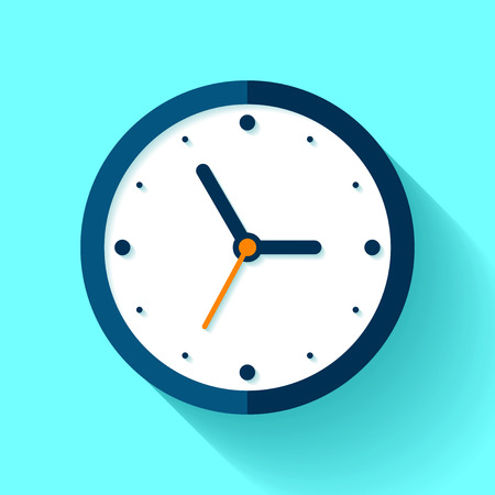 Clock icon in a flat style, timer on a blue background. Business watch. Vector design element for you project