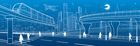 Modern city with trains icon. Illustration