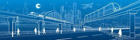 Einschienenbahnbrücke über die Autobahn. Eisenbahnüberführung. Zug bewegen. Städtische Infrastruktur, moderne Stadt, Industriearchitektur. Menschen gehen. Weiße Zeilendarstellung, Vektordesignkunst Vektorgrafik