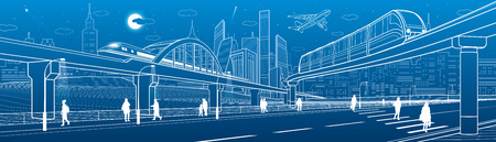 Monorail bridge across the highway. Railroad overpass. Train move. Urban infrastructure, modern city, industrial architecture. People walking. White lines illustration, vector design art