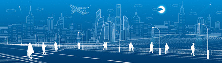 People cross highway. Urban infrastructure panorama, modern city at background, industrial architecture. White lines illustration, vector design art Vectores