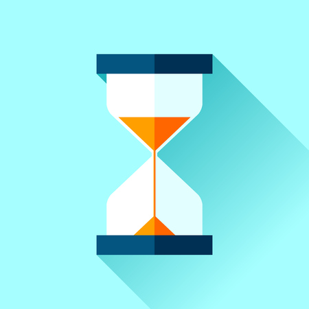 Hourglass icon in a flat style, sandglass on a blue background. Vector design element for you project