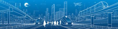 列車は鉄道に乗る。駅の乗客。輸送高架橋。モノレール移動。