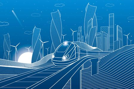 Train traveling on a railroad bridge in mountains. Tower and skyscrapers, modern city, business buildings. Night scene. White lines on blue background. Windmills power. Vector design art Vectores