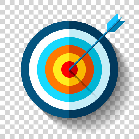 Target icon in flat style on transparent background. Arrow in the center aim. Vector design element for you business projects