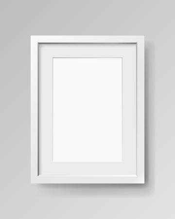 Realistischer leerer rechteckiger weißer Rahmen mit Passepartout auf grauem Hintergrund, Grenze für Ihr kreatives Projekt, Modellprobe, Vektordesigngegenstand