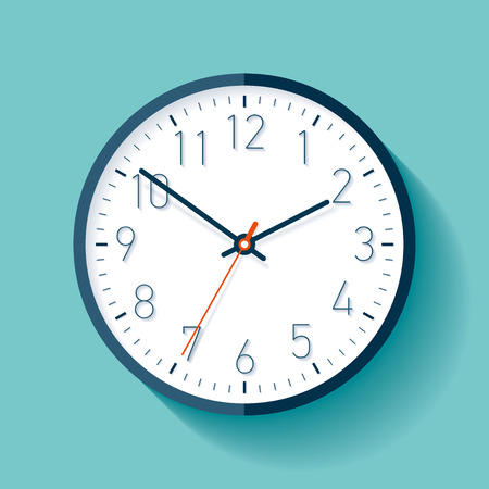 Clock icon in flat style with numbers, timer on turquoise background. Business watch. Vector design element for you project Ilustração