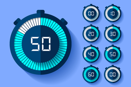 Stopwatch icons set in a flat style, timers on color background. Sport clock. Vector design element for you business project