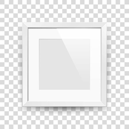 Realistic empty squre white frame with passepartout on transparent background, border for your creative project, mock-up sample, picture on the wall, vector design object Illustration