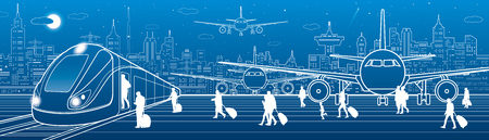 Transport panorama, passengers get on the train leaving the airplane. Travel transportation infrastructure, plane is on the runway. Night city on background, vector design art. Иллюстрация