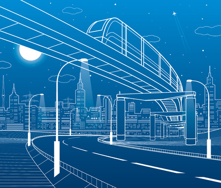 Monorail railway, illuminated highway, transportation illustration. Skyline modern city at background in night scene. White lines on blue background vector design art.