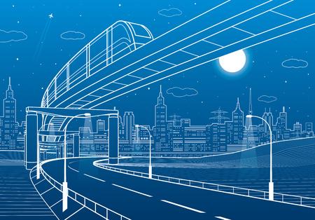 Monorail railway. Illuminated highway. Transportation illustration. Skyline modern city at background. Night scene. White lines on blue background. Vector design art