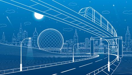 Monorail railway. Illuminated highway. Transportation urban illustration. Skyline modern city at background. Night town. White lines on blue background. Vector design art