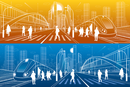 City and transport illustration. Big bridge. Pedestrian crossing. Passengers get in train, people at station. Modern town on the background, towers and skyscrapers. White lines. Vector design art