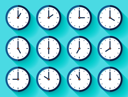 Clock icon set in a flat style, timer on color background. Twelve o'clock. Business watch. Vector design element for you project