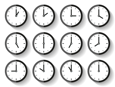 Clock icon set in a flat style, timer on white background. Twelve o'clock. Business watch. Vector design element for you project