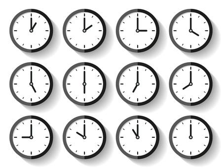 Uhrikone stellte in eine flache Art, Timer auf weißem Hintergrund ein. Zwölf Uhr. Geschäftsuhr. Vektorauslegungelement für Sie Projekt Vektorgrafik