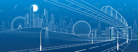Monorail railway. Illuminated highway. Transportation urban illustration. Skyline modern city at background. Business buildings. Night town. White lines on blue background. Vector design art