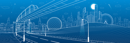 Monorail railway. Illuminated highway. Transportation urban panorama. Skyline modern city at background. Business buildings. Night town. White lines on blue background. Vector design art