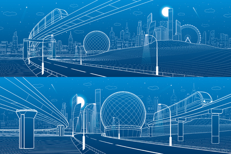 Monorail railway, Trains on bridge. Illuminated highway. Transportation urban illustration set. Vector illustration.