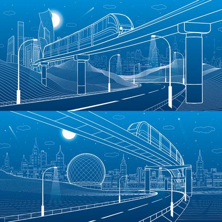 Monorail railway. Trains on bridge. Illuminated highway. Transportation urban illustration set. Skyline modern city at background.  White lines on blue background. Vector design art