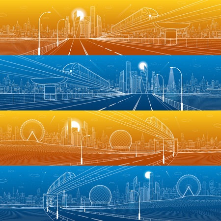 Transportation urban panorama set. Illustration