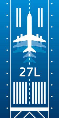 Aviation transportation illustration. Plane is on the runway strip. Vector design