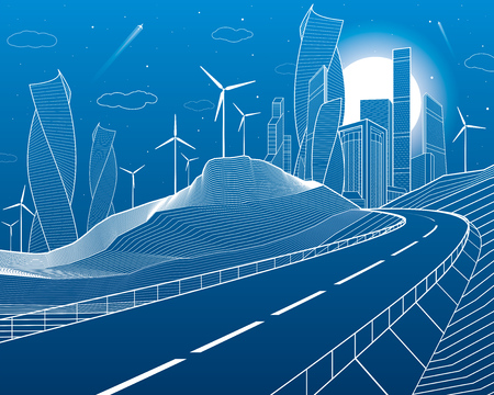 Highway in mountains. Tower and skyscrapers, modern city, business buildings. Night scene. White lines on blue background. Windmills power. Vector design art