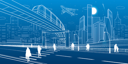 Monorail bridge across the highway. Urban infrastructure, modern city on background, industrial architecture. People walking. White lines illustration, night scene, vector design art Illusztráció