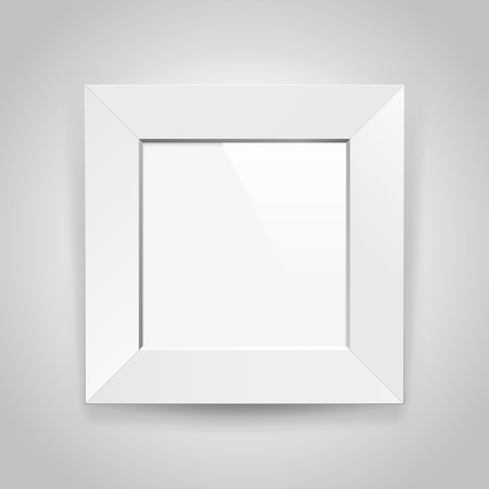 Realistic empty square white frame on gray background, border for your creative project, mock-up sample, picture on the wall, vector design object.