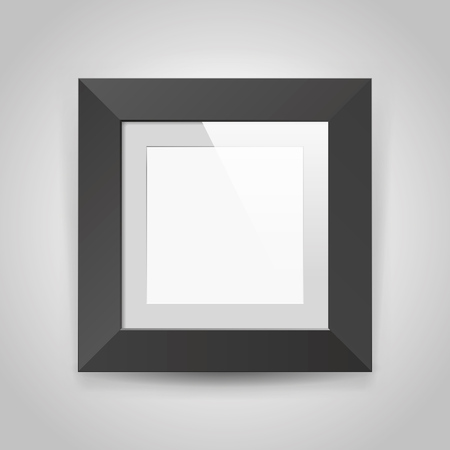 Realistic empty square black frame with gray background, border for your creative project, mock up sample, picture on the wall, vector design object.