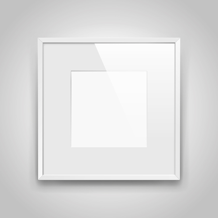 Realistic empty square white frame  on gray background, border for your creative project, mock-up sample, picture on the wall, vector design object Illustration