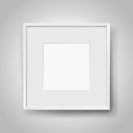 Realistic empty squre white frame with passepartout on gray background, border for your creative project, mock-up sample, picture on the wall, vector design object Illustration