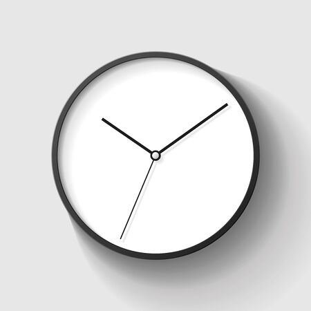 Simple wall clock in realistic style, minimalistic timer on gray background. Business watch. Vector design element for you project.