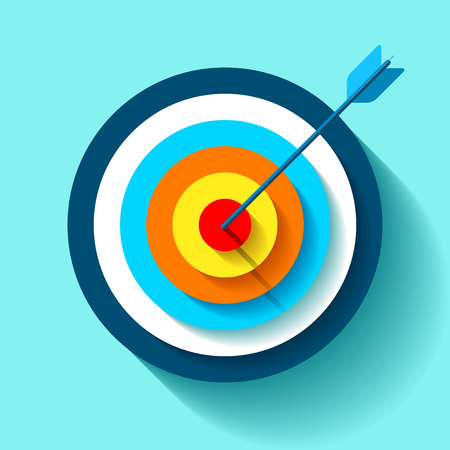 Volume target icon in flat style on color background. Arrow in the center aim vector design element for you business projects.