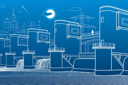 Centrale idroelettrica. River Dam. Stazione di energia. Illustrazione industriale di infrastruttura della città. Linee bianche su sfondo blu. Arte disegno vettoriale