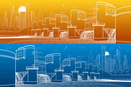 Hydro power plant, river dam, energy station. City infrastructure industrial illustration panorama. White lines on blue and orange background vector design art. Illustration