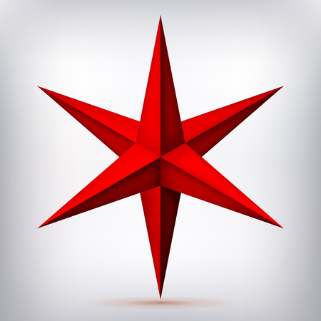 Volume six-pointed red star, 3d object, geometry crystal shape, mesh version, abstract vector